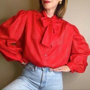 Vintage 80s handmade red pussy bow blouse XL